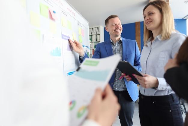 Trener biznesu prowadzi szkolenia pracowników dotyczące efektywnego rozwoju biznesu