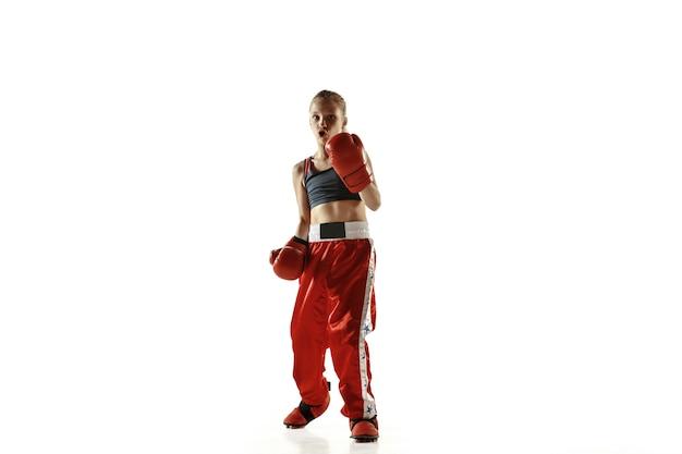 Trening młodych wojowników kickboxingu na białym tle