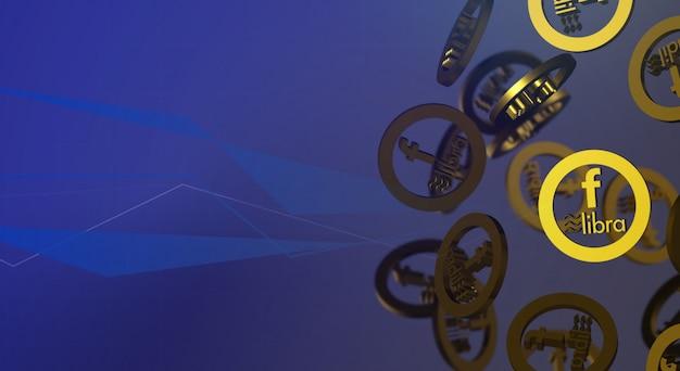 Treść kryptowaluty 3d renderowania libra na facebooku.