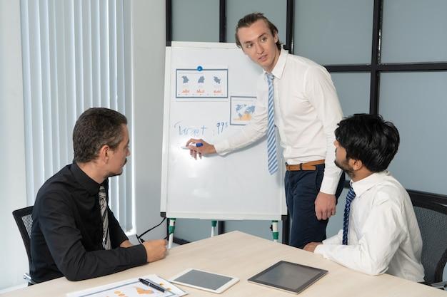 Treści pewni młodych specjalistów pisanie na tablicy podczas dzielenia planów z personelem.