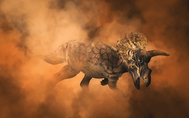 Triceratops, dinozaur na tle dymu
