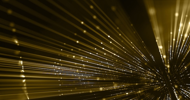 Trip złote nici i kropki, promienie led z włókien, tło mody, koncepcja luksusu. renderowania 3d.