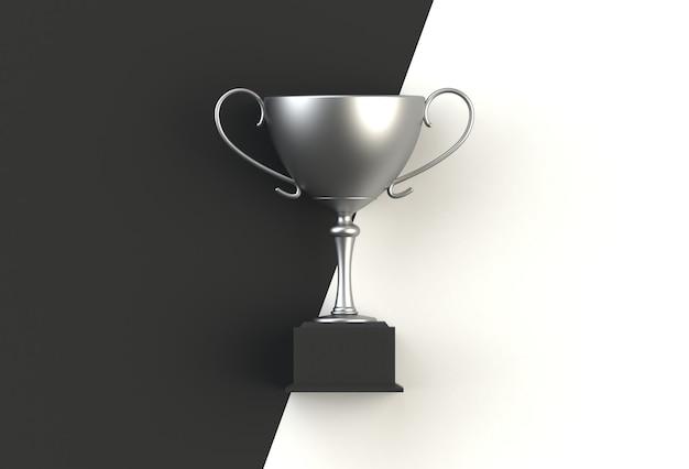 Trofeum na czerni z białą deską, 3d rendering