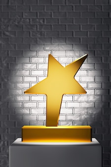 Trofeum złotej gwiazdy na białym stoisku przed ceglanym murem