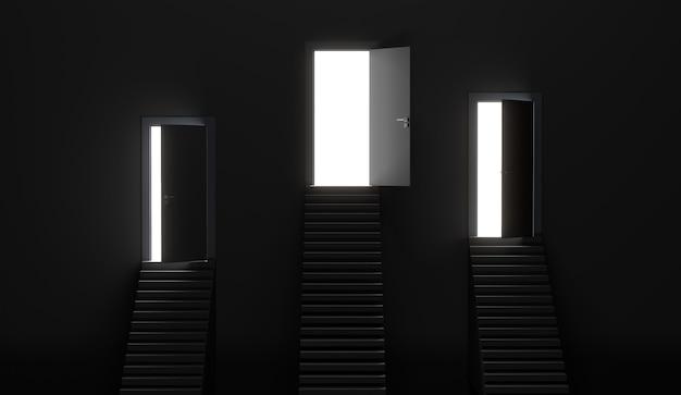 Troje białych drzwi i jedne otwarte drzwi nad schodami. renderowanie 3d