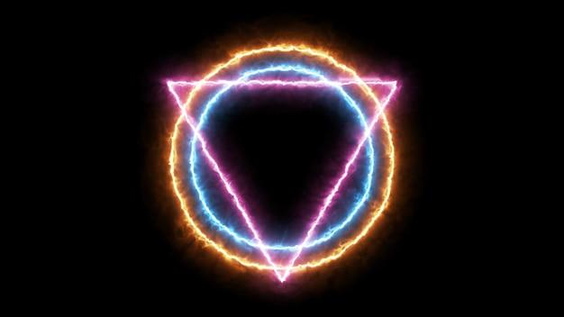 Trójkąt i koło z cząsteczką ognia, styl illuminati