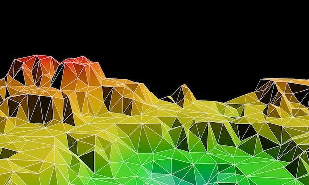 Trójwymiarowa góra low poly topographic z liniami szkieletowymi.