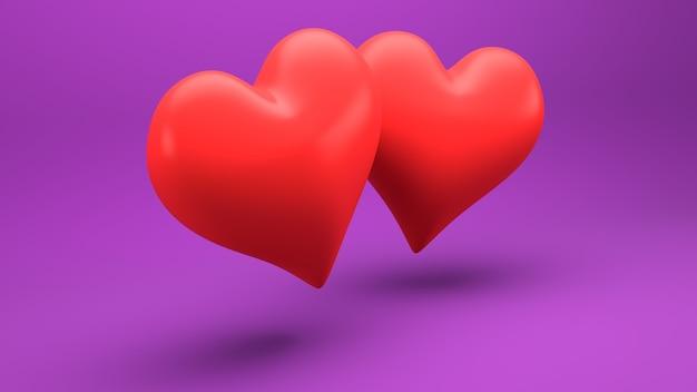 Trójwymiarowa ilustracja dwóch czerwonych serc na różowej ścianie.