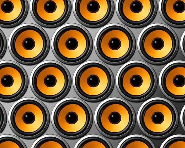 Trójwymiarowa pomarańczowa ściana głośników