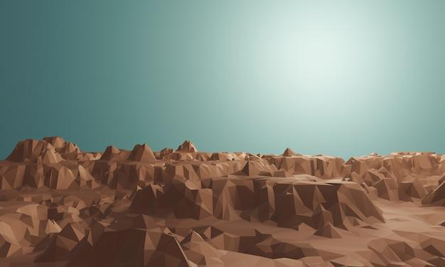 Trójwymiarowa topografia skał low poly. brązowa kamienna góra.