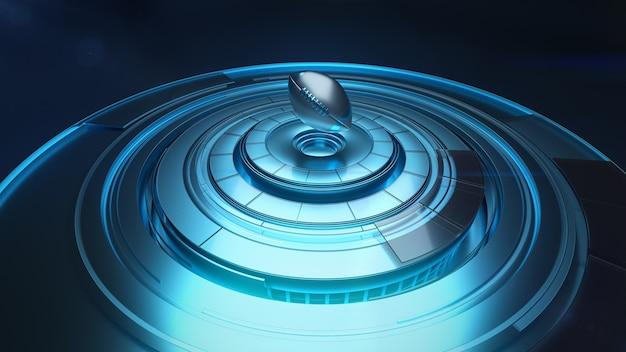 Trójwymiarowy model piłki do rugby nad okrągłą platformą w kolorach niebieskim i srebrnym