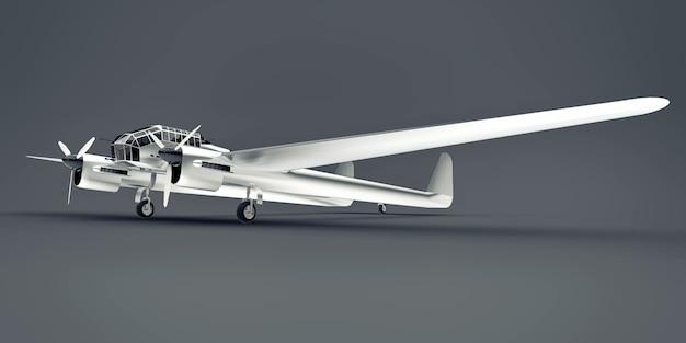 Trójwymiarowy model samolotu bombowego drugiej wojny światowej. lśniący aluminiowy korpus z dwoma ogonami i szerokimi skrzydłami. błyszczący samolot na szarej powierzchni.