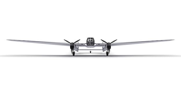 Trójwymiarowy model samolotu bombowego drugiej wojny światowej. lśniący aluminiowy korpus z dwoma ogonami i szerokimi skrzydłami. błyszczący szary samolot na białej powierzchni