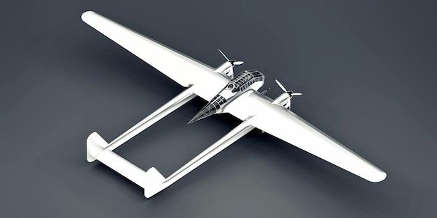 Trójwymiarowy model samolotu bombowego ii wojny światowej. błyszczący aluminiowy korpus z dwoma ogonami i szerokimi skrzydłami. silnik turbośmigłowy. błyszczący samolot na szarym tle. ilustracja 3d.