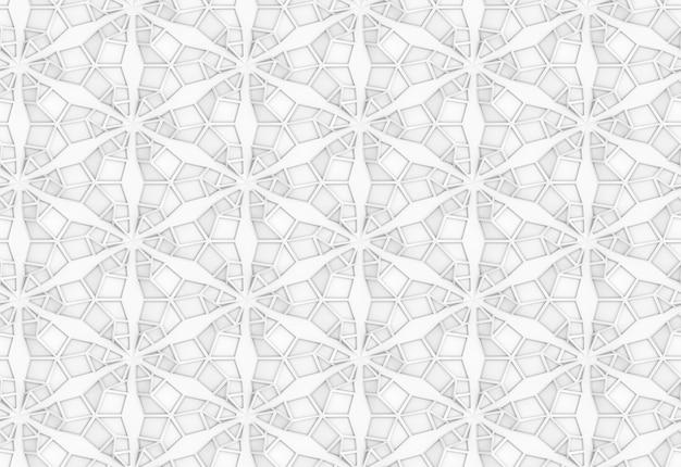 Trójwymiarowy wzór geometrii światła z sześcioramiennymi kwiatami