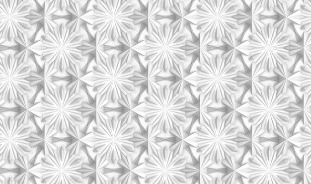 Trójwymiarowy wzór lekkiej geometrii z sześcioramiennymi kwiatami