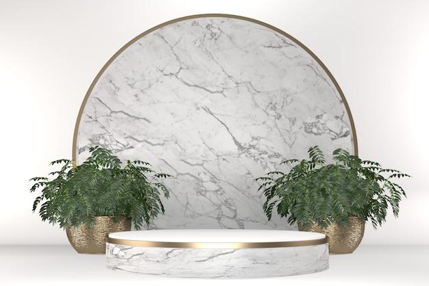 Tropikalna biała dekoracja geometryczna i roślinna podium na białym tle .3d renderowania