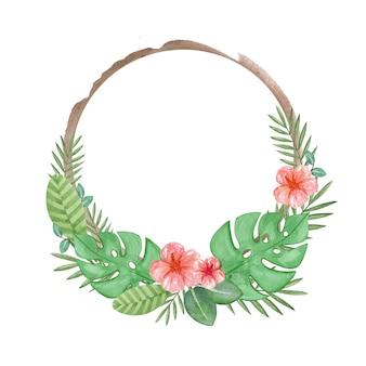 Tropikalna korona akwarela ręcznie malowana ilustracja egzotycznej ramki wieniec tropikalny clipart