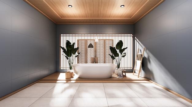 Tropikalna łazienka w stylu japońskim renderowania 3d