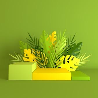Tropikalna palma papierowa, liście i kwiaty monstery, podium do prezentacji produktów.