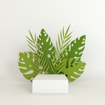 Tropikalna palma papierowa, rama z liści monstery, platforma podium do prezentacji produktów.