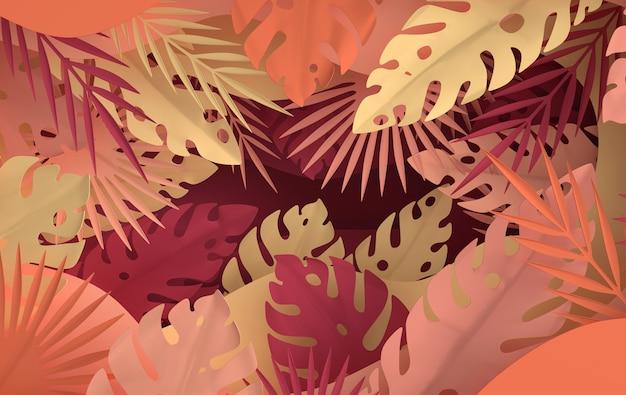 Tropikalna papierowa palma liści rama
