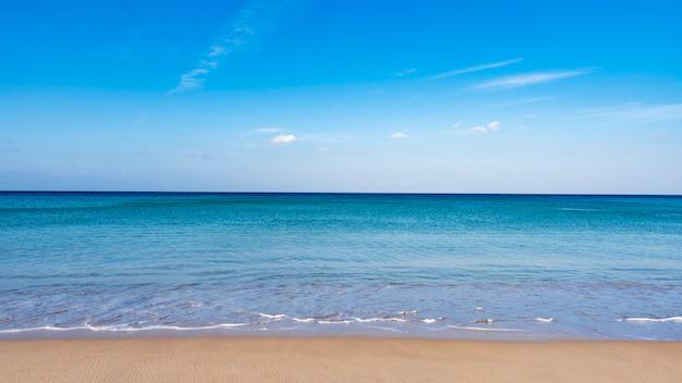 Tropikalna piaszczysta plaża z niebieskim oceanem i niebieskim niebem