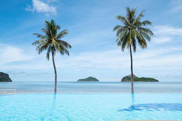 Tropikalna plaża z zielonymi palmami i niebieskim niebem w tajlandia
