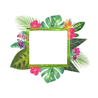 Tropikalna ramka graniczna z egzotycznym bukietem z jasnymi tropikalnymi kwiatami