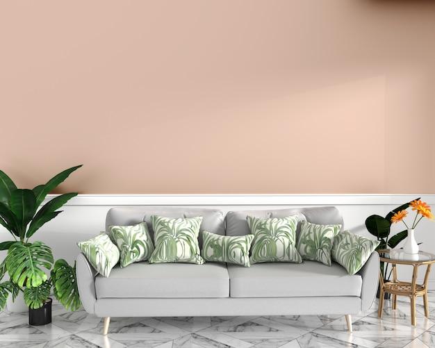 Tropikalna stylistyka, fotel, roślina, szafka na podłodze granitowej i różowym tle