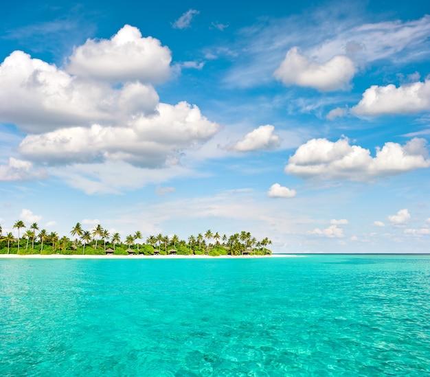 Tropikalna wyspa plaża z palmami i zachmurzonym niebieskim niebem. krajobraz przyrody