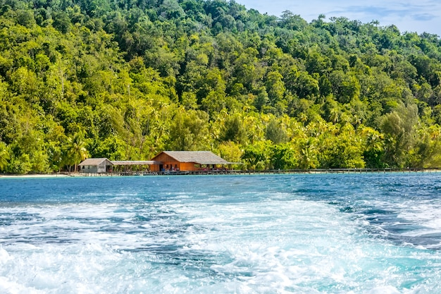 Tropikalna wyspa w indonezji. przy brzegu drewniany pomost i chata. piana wodna za rufą jachtu