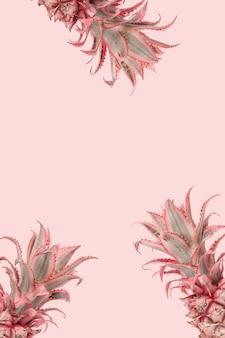 Tropikalne ananasy w tle kreatywna letnia aranżacja pastelowy róż w kolorze z rośliną dekoracyjną