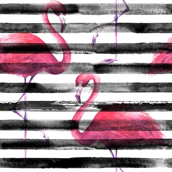 Tropikalne egzotyczne różowe flamingi na poziome paski czarno-białe tło. ilustracja akwarela. grunge wzór do pakowania, tapety, tekstylia, tkaniny.
