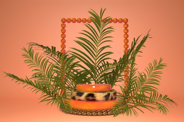 Tropikalne liście palm i kreatywna rama, podium w panterkę do prezentacji produktów. letni jasny styl.