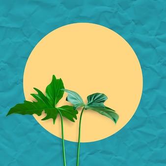 Tropikalne liście z morzem i wyspą z papieru w pastelowym kolorze tła