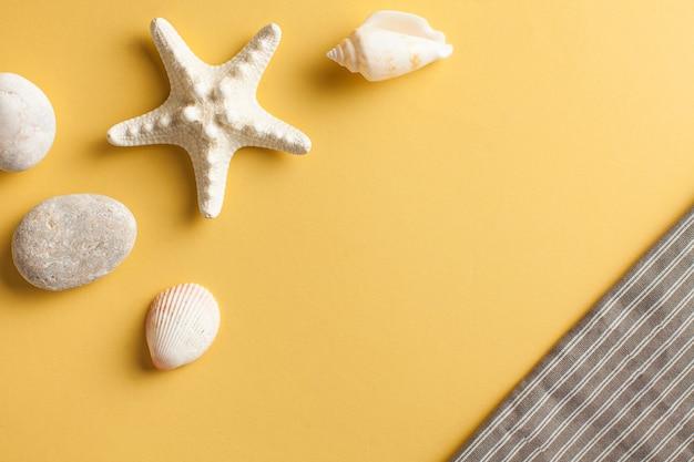 Tropikalne mieszkanie leżało z rozgwiazdami i muszlami na żółto