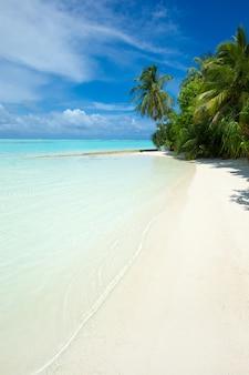 Tropikalne morze pod błękitnym niebem. krajobraz morski.