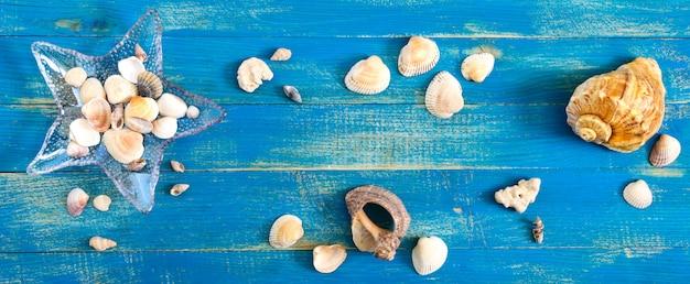 Tropikalne morze w tle. różne muszle, w szklanej misce w kształcie rozgwiazdy na niebieskich deskach, widok z góry. wolne miejsce na napisy. motyw letni. transparent