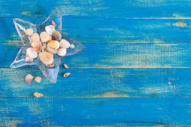 Tropikalne morze w tle. różne muszle, w szklanej misce w kształcie rozgwiazdy na niebieskich deskach, widok z góry. wolne miejsce na napisy. motyw letni.