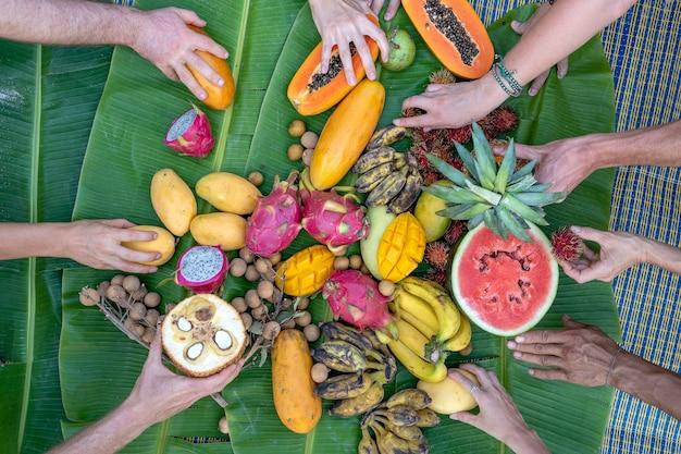 Tropikalne owoce na zielonych liściach bananowca i rękach ludzi. grupa szczęśliwych przyjaciół, którzy mają dobre jedzenie, cieszą się imprezą i komunikacją. mango, papaja, pitahaya, banan, arbuz, ananas i dłonie