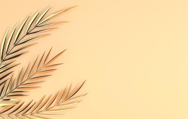 Tropikalne złote błyszczące liście palmowe egzotyczna hawajska dżungla liści lato tło