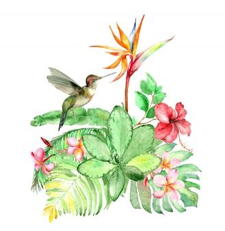 Tropikalny bukiet akwarela