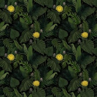 Tropikalny egzotyczny wzór z kwiatami protea w tropikalnych liściach. ręcznie rysowane vintage ilustracji 3d. dobry do projektowania tapet, nadruków na tkaninach, papieru do pakowania, szmatki, okładek na notebooki.