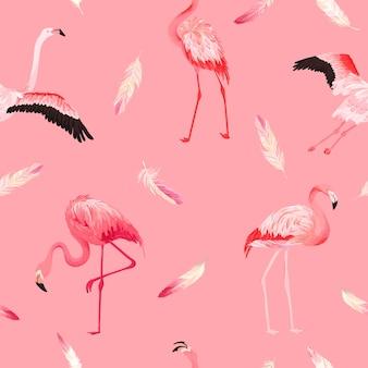 Tropikalny flamingo bezszwowe wektor wzór lato z różowymi piórami. egzotyczny różowy ptak tło dla tapet, strony internetowej, tekstury, tekstyliów. projektowanie dzikiej przyrody