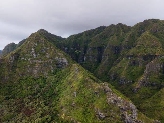 Tropikalny krajobraz hawajów z widokiem na góry