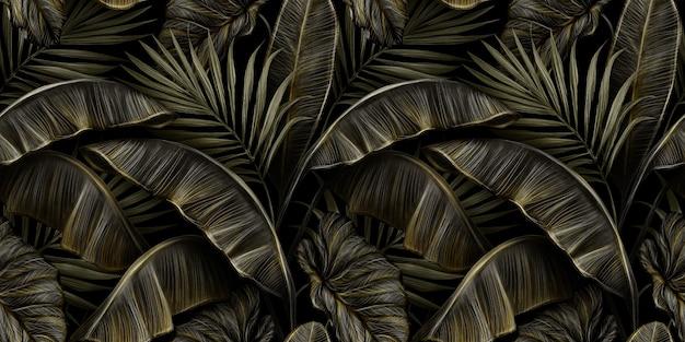 Tropikalny luksusowy vintage wzór z ciemnymi złotymi liśćmi bananowca, palmą, colocasia esculenta
