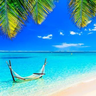 Tropikalny relaks - hamak w turkusowej wodzie.