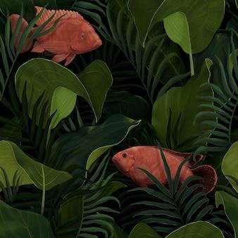 Tropikalny wzór. ryba w tropikalnych liściach. nadaje się do projektowania papieru pakowego, tapet, okładek na notebooki, tkanin