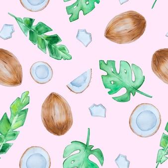 Tropikalny wzór z kokosami i liśćmi